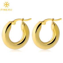 Hot selling stainless steel gold plated banana shape hoop earrings