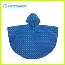 Poncho de pluie d'enfants de PVC de polyester avec l'impression pleine Rvc-085