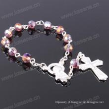 Multicolorida 6 milímetros de cristal de ângulo talão moda religiosa pulseira
