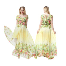 Premium material polyester wide range size women fashion printed floral evening dress