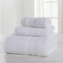 100% Baumwolle, reines, weißes, hochwertiges Handtuchset