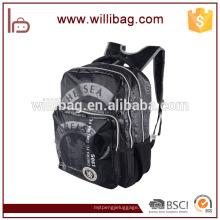 Bolso de escuela negro ligero al por mayor durable de la mochila de la lona para el estudiante