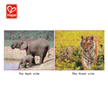 Tiger and elephant double-sided animal kids wooden jigsaw puzzle