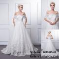 Neue Ankunfts-Anti-knicke breathable appliqued 3/4 lange Hülsenspitze-Hochzeitskleidmuster-Bootsansatz langes Hülsenhochzeitskleid