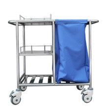 Cheap hospital easy cleaning laundry stainless steel linen nurse trolley