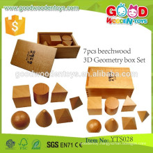 Promotional Wooden Educational Toys 7pcs beechwood 3D Geometry Box Set