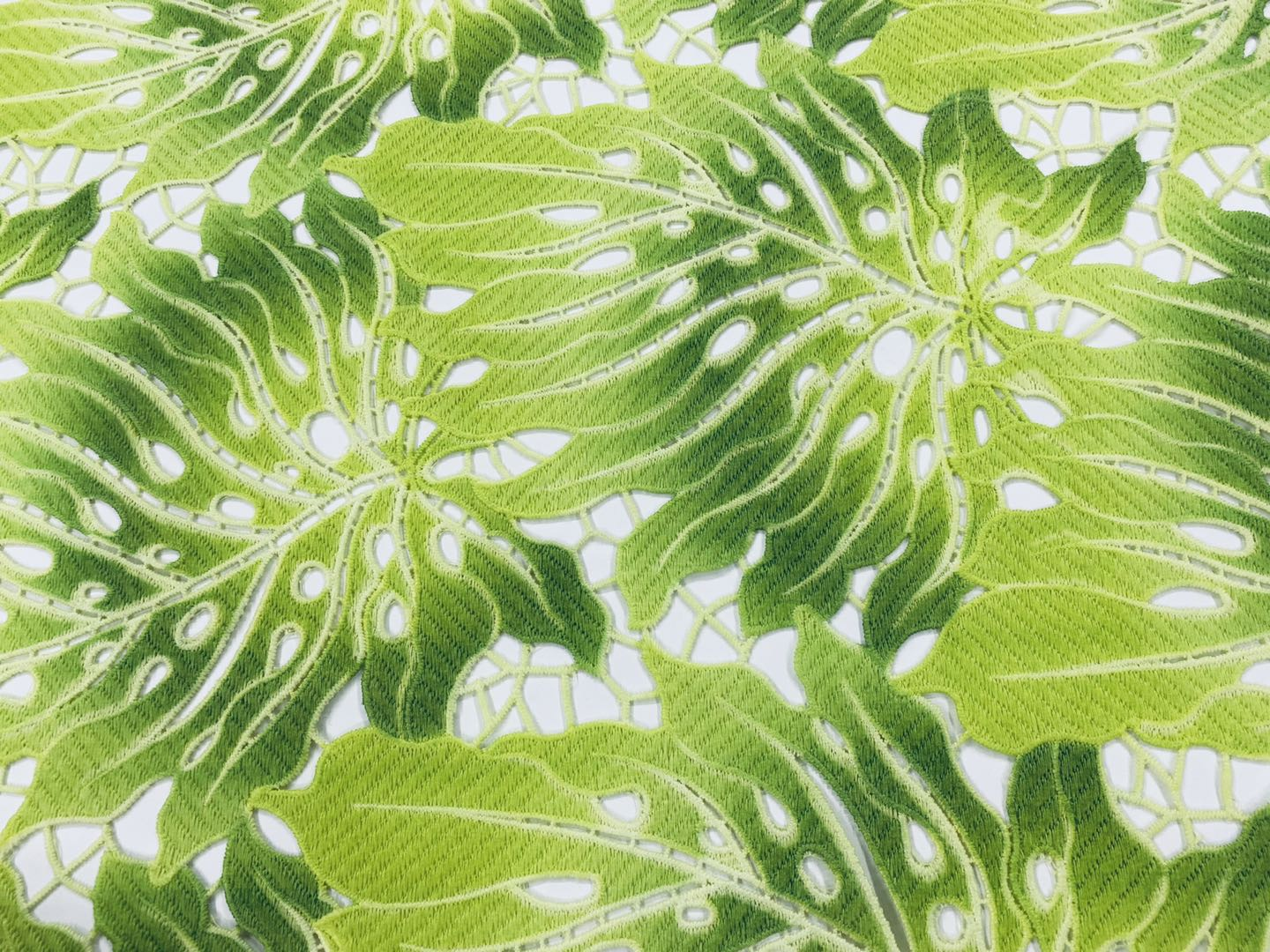 Green Milky Yarn Guipure Embroidery Fabrics
