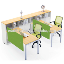 Two people workstation with bookshelf peach wood and warm white upholstery, Pro office furniture factory (JO-4049-2)