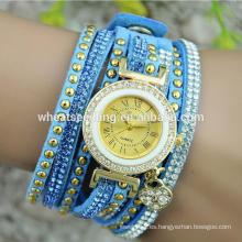 Reloj chino barato de la venda del cuero de la pulsera de los relojes baratos de la nueva llegada