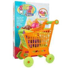 Carrinho de compras das crianças com conjunto de brinquedos vegetais
