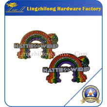 Soft Enamel Alloy Glitter Rainbow Badge