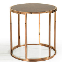 Living room retro marble round end table