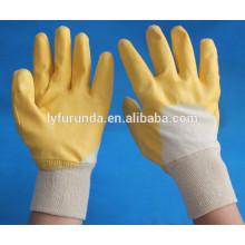 Algodão revestido com luvas de revestimento nitrilo amarelo aberto para trás