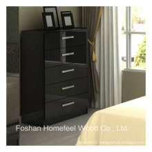 High Glossy Black Bedroom Storage Cabinet 5 Drawer Chest (HC19)