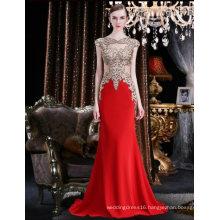 Hollow out Beading Lace Red Chiffon Long Evening Dress Women