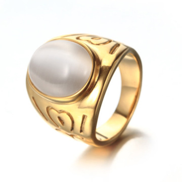 Latest gold men agate moon stone ring