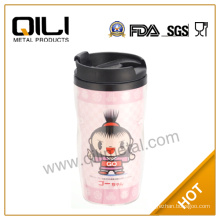 Double plastic cute cup with paper insert