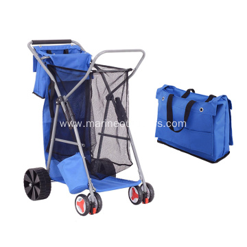 Outdoor Portable Multifunctional Folding Beach Fishing Trolley Cart