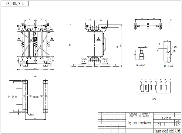 500kva dry type transformer drawing