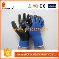 Blaues Nylon mit schwarzem Nitril-Handschuh-Dnn347