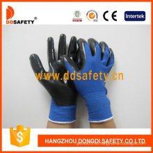 Nylon azul con guante de nitrilo negro-Dnn347