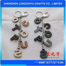 Leder Schlüsselanhänger Leder Buchstaben Schlüsselanhänger mit Metallring