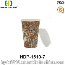 Único copo de papel descartável do café 12oz da parede com tampa (HDP-1510-7)