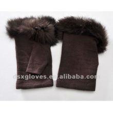 chocolate half finger cashmere gloves