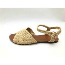 sandália de moda superior de ráfia de senhoras