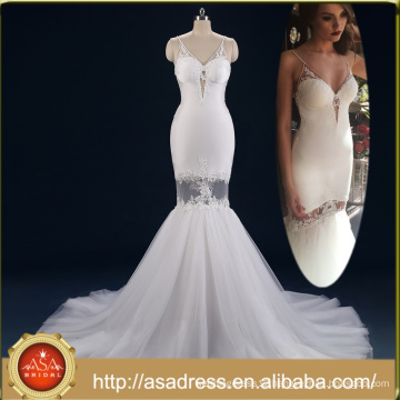 ASWY19 Real Photos Bohemian V neckline Spaghetti Strap Detachable Train Mermaid Bride wedding dress 2017