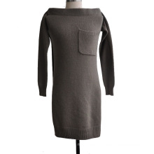 100%Cashmere Women Knitted Decorative Sleeve Sweater