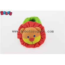 Soft curto Plush Stuffed Leão Toy Baby Sapatos Indoor com Chocalho