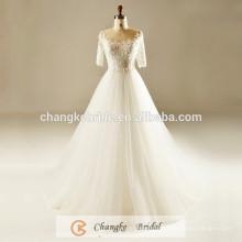 Luxury Bridal Gown Lace Applique Crystal Pattern Ball Gown Pleats Half Sleeve Muslim Wedding Dress 2016