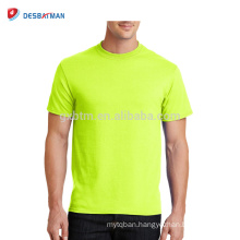 Customized Top Quality Promotional High Visibility Hi-Vis Full Yellow Or Orange Polyester Mesh Crew Neck T-Shirts For Worker