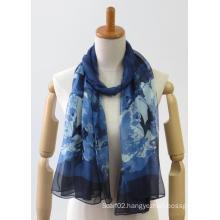 Coloured chiffon woven thin soft fashion ladies scarf