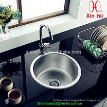Stainless Steel Top Mount Single Round Bowl Kitchen Sink Bar Sink