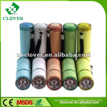 On/off button switch mini 9 led aluminum flashlight with strap