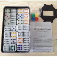 Двойной 12 Домино комплект с жестяной коробке