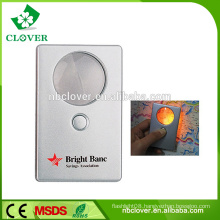 Portable for reading credit card sized magnifier with light