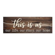 High quality custom logo 6x18 Rustic Brown wall hanging farmhouse sign for house decorations living room clearance