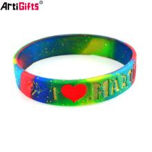 Wristband Maker Custom Fashion design glitter rubber silicone bracelet