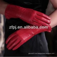 Heiße Verkauf stilvolle lederne Dame, die rote Farbe lederne Handschuhe im Winter trägt