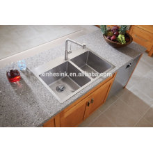 US American cUPC Drop-in Double Bowl Stainless Steel Topmount Handmade Kitchen Sink with Tap Holes