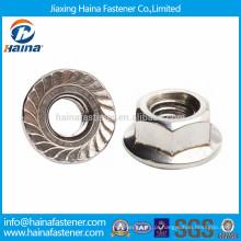 Aço inoxidável 304 serrilhada porca flange hex