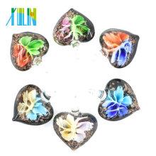 Pingentes de Lampwork de flor de vidro 3D de coração preto para decoração 12pcs / box, MC0058