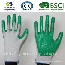 13G Polyester Shell mit Nitril beschichteten Arbeitshandschuhen (SL-N107)