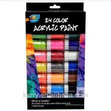 Cores acrílicas Não-tóxicas da pintura 24 (20ml) para o desenho das crianças