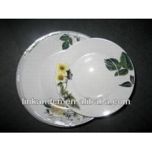 Haonai 12pcs green leaf decal porcelain dinner plate sets