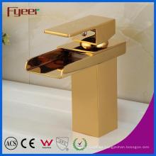 Fyeer New Golden Water Tap Waterfall Grifo de lavabo de latón