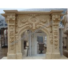 Mantel de mármore da chaminé da pedra cinzelada para a decoração Home (QY-LS384)